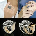 Men Fashion Lion Shaped Ring Two Tone Silver Golden Rings Party Ring Gift