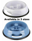 TRIXIE SLOW FEED PLASTIC DOG BOWL FOOD OR WATER NON GULP NON-SLIP RUBBER BASE