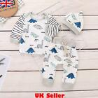 UK Baby Boys Girls Dinosaur Tops T-shirt+Long Pants+Hat Clothes Outfit Set 0-18M