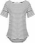 POGTMM Women's Casual Raglan Short Sleeve Patchwork Striped Cotton Shirts Loose