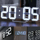 3D LED 24 Digital Clock Table Wall Clock Electronic Alarm Display Dimmer Modern