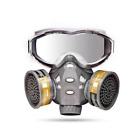 Full Face Gas Mask Facepiece Respirator Painting Spraying Protection + Goggles