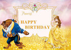 Beauty and The Beast Backdrop for Princess Birthday Party Decoration Custom Text