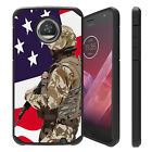 For Moto Z2 Force / Moto Z2 Play, Slim Combat Shock Bumber Case EAGLE USA FLAGS