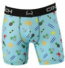 "Cinch Men's Blue Beach Print 6"" Boxer Briefs MXY6002015"