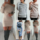 Womens Off Shoulder Jumper Mini Dress Bodycon Long Sleeve Casual Sweater Dresses