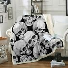 Cool Skull 3D Print Sherpa Blanket Sofa Couch Quilt Cover throw blankets