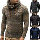 Men's Warm Knitted Hooded Sweater Pullover Jumper Long Sleeve Jumper Winter Top