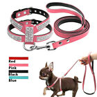 Pet Dog Puppy Cute Bling Rhinestone Harness and Leads Leash Soft Suede Leather