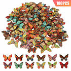 LOT Wood Butterfly Handmade 2 Holes Wooden Buttons DIY Sewing Scrapbooking Craft