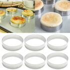 6Pcs Durable Stainless Steel Cake Muffin Crumpet Bread Rings Bakery Baking Mold