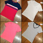 Tommy Hilfiger Logo Women's V-Neck T Shirt  Size S, M, L, XL New