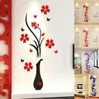 Diy Vase Flower Tree Crystal Acrylic 3d Wall Stickers Living Room Home Decor Diy