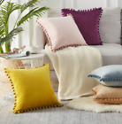 "Home Decor 18""x18"" Particles Velvet Pom-poms Sofa Soft Cushion Cover Pillowcase"