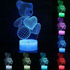 3D Night Light Touch LED Lamp Lights Desk Table Bedroom Decor Couples Kids Gifts