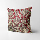 Wk211a Red Gold Damask Chenille Flower Throw Cushion Cover/Pillow Case Custom