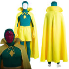 Wanda Vision Cosplay Vision Costume Jumpsuit Cloak Halloween Outfit Full Set