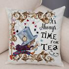Alice in Wonderland Cushion Cover Cute Rabbit Cat Printed Sofa Pillow Vintage