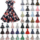 Women's 1950s 60s Retro Vintage Floral Rockabilly Hepburn Evening Party Dress
