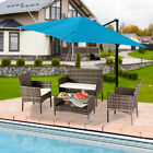 4pcs Rattan Patio Outdoor Furniture Set Cushioned Sofa Chair & Table Glass Top