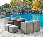 Cube Rattan Garden Furniture Outdoor 9 Piece Set Conservatory Patio Dining Set