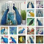 Peacock Pattern Waterproof Shower Curtains Bathroom Floral Curtains Decor Hooks