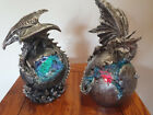 23cm Silver Dragon On Crystal Orb Color Changing  With Light 2 Asstd Home Decor