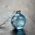 Resin Ball Moon Pendant Necklace Blue Sky White Cloud Chain Necklace JewelryW8P