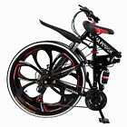 Outroad Mountain Bike 21 Speed 26in Folding Bike Double Disc Brake Bicycles