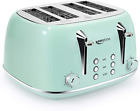 Toasters 4 Slice, Keenstone Retro Stainless Steel Bagel Toaster with High Lift L