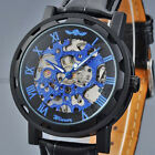 Mens Mechanical Hand Wind-Up Leather Strap Steampunk Skeleton Wrist Watches Gift