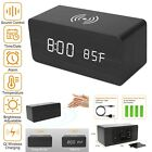 Digital LED Desk Alarm Clock Thermometer Qi Wireless Charger Smart Voice Control