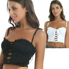 US Womens Lace Trim Spaghetti Straps Camis Top Lace-up Front Summer Cropped Vest