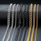 New Men's Women's Stainless Steel Necklace Silver 3 - 7mm Cuban Curb Link Chain
