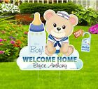 Welcome Home Baby Teddy Bear Yard Sign, Custom Name Its a Girl, Lawn Stork Gifts