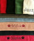 DOG TOWEL - PERSONALISED EMBROIDERED - FLANNEL OR HAND TOWEL SIZE - NAME / PAWS