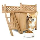 Durable Outdoor Wooden Dog Pet Kennel House With Raised Roof Balcony & Ladder
