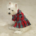 Dog Pleated Plaid Jumper Clothes Clothing Red/Blue