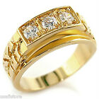 Three Simulated Diamond 18kt Gold EP Mens Ring