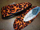 ORANGE FLAMES PRINT BOWLING SHOE COVERS-MED, LG OR XL