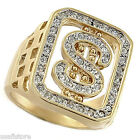 Dollar Sign Bling 18KT Gold Plated Ring with CZ Stones