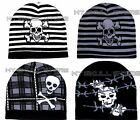 QUALITY SKULL BONES BEANIE KNIT SKI CAP HAT PLAID STRIPES BLK GREY WHITE BIKER