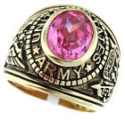 Army Rose Pink  Stone US Military Gold EP Ring Size 10-11-12-13