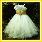 G818-US NT Gold Christening Pagent Party Flower Girls Dress AGE 2-3-4-5-6-7-8-9T