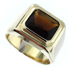 Smoky Quartz Stone 3.07ct Solitaire Gold EP Mens Ring