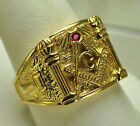 RUBY 24kt Gold plt over Real Sterling silver free mason MASONIC RING Freemasonry