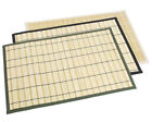 Natural Bamboo Placemats w/ Beige Black Green Edge Trim 13x19 Set of 4 Linen