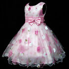 NWT P3211 Pinks  Fancy Wedding Party Flower Girls Dresses SIZE 3 4 5 6 7 8 Years