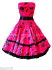 SEXY STRAPLESS PINK BLACK 50'S VINTAGE SWING ROCKABILLY PARTY PROM DRESS 6-14