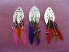 Feather Bead and Leather Pierced Earrings 3 Asst colours